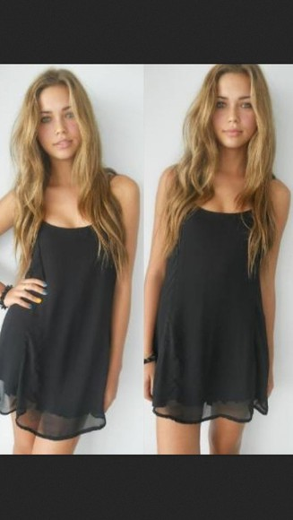 dress sleeveless flowy dress little black dress black flowy short dress little black dress