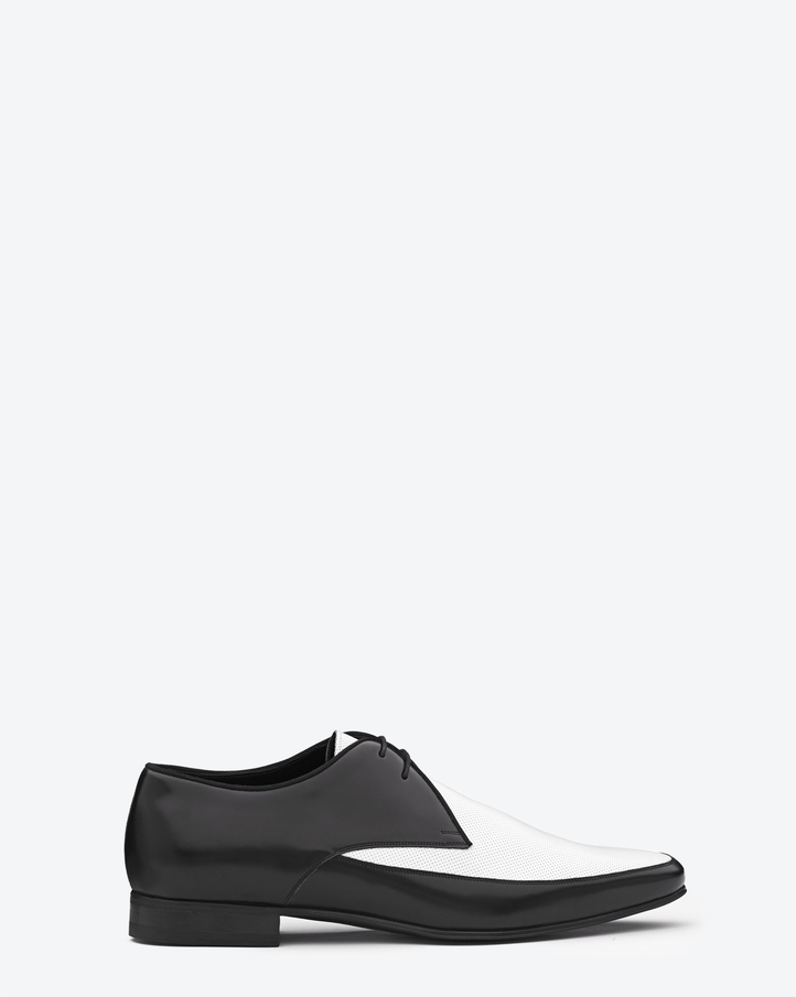 Saint Laurent Signature Blake Derby Plateau Shoe In Black And White Perforated Leather | ysl.com