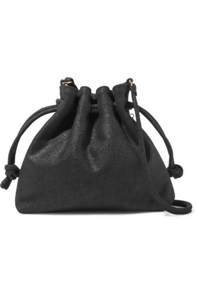 Clare V. metallic bag bucket bag suede black