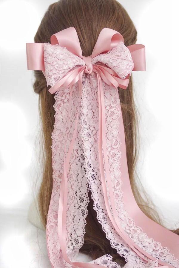 Hair Accessory Light Pink Cute Lace Bow Bows Kawaii