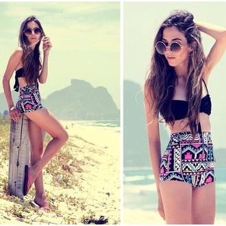 shorts high waisted bikini aztec tribal pattern black bikini swimwear