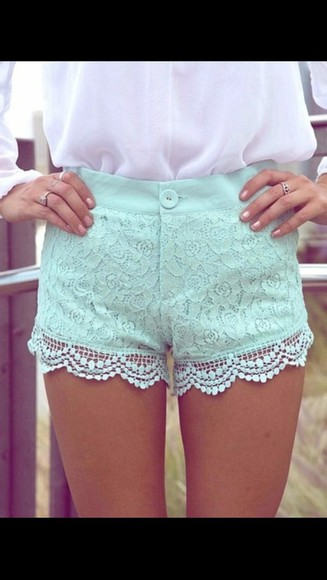 shorts lace lace shorts light blue high waisted blue shorts