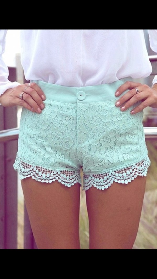 shorts light blue lace lace shorts high waisted blue shorts