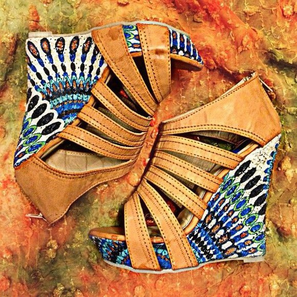shoes wedges boho gypsy hippie sandals, aztec, tribal, summer