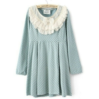 dress cute polka dots light blue green lace white short doll fabric