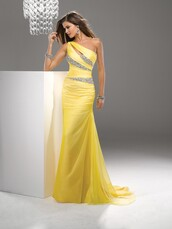 fashion dress,evening dress,cheap dress,yellow,chiffon,long