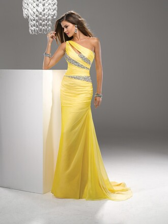 fashion dress evening dress cheap dress yellow chiffon long