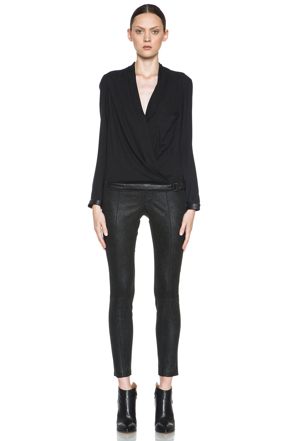 Helmut Lang|Morse Drape Top in Black