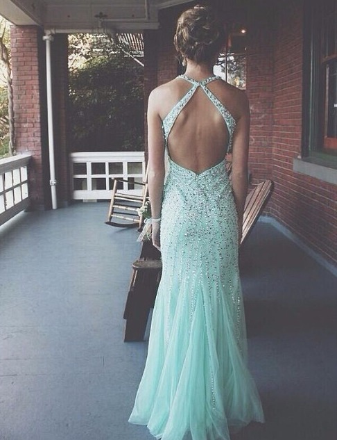 Aliexpress.com : Buy New Fashion 2014 Mint Green Hater Tulle Evening Dresses Floor Length Beading Mermaid Long Backless Prom Dresses from Reliable dress tight suppliers on 27 Dress