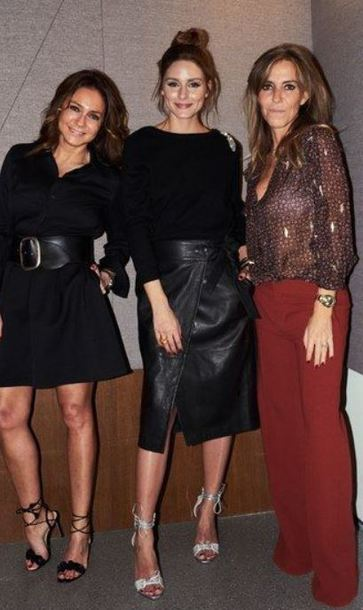 skirt sandals blogger leather leather skirt olivia palermo sweater wrap skirt fall outfits