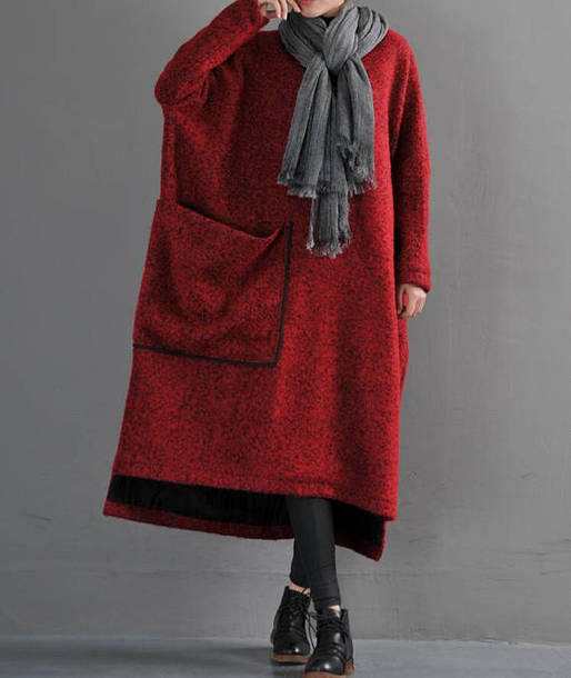 dress wool long robe