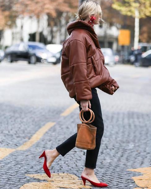 jacket brown jacket puffer jacket denim jeans black jeans bag brown bag handbag shoes red shoes mules streetstyle