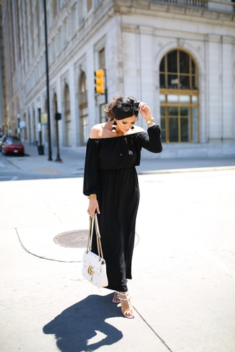 dress tumblr maxi dress long dress black dress sandals flat sandals bag white bag off the shoulder off the shoulder dress earrings accent earrings shoes valentino nordstrom neiman marcus