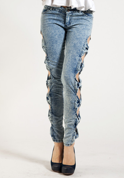 Side Bow Cutout Jeans Pants Lookbook Store