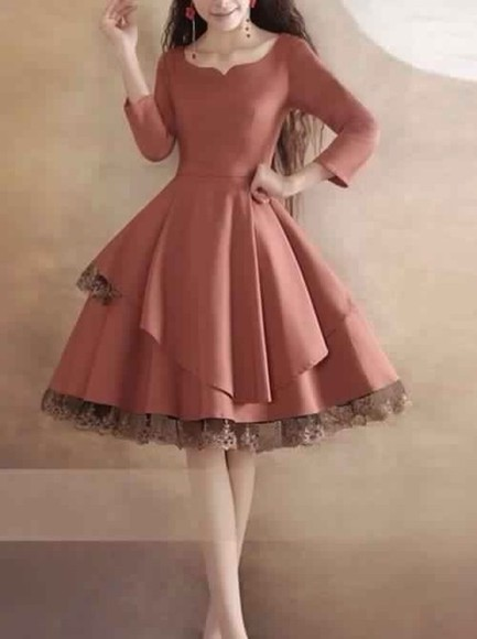 dress prom dress day dress swing dress long sleeve dress peachy colored cute dress prom dresses