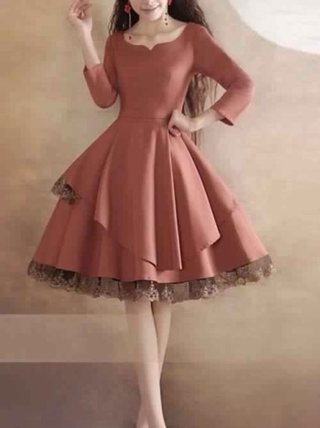 dress, day dress, swing dress, long sleeve dress, peachy colored ...