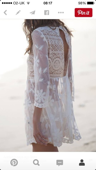 dress lace dress cream dress boho beachwear swimsuit coverup