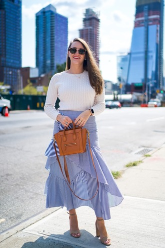 covering bases curvy blogger sweater skirt sunglasses shoes jewels