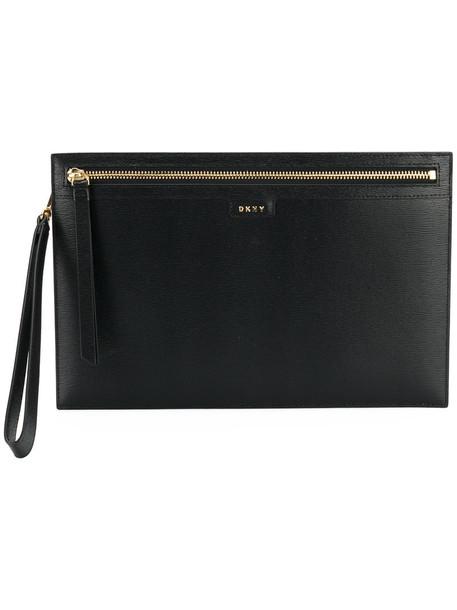 DKNY women clutch leather black bag