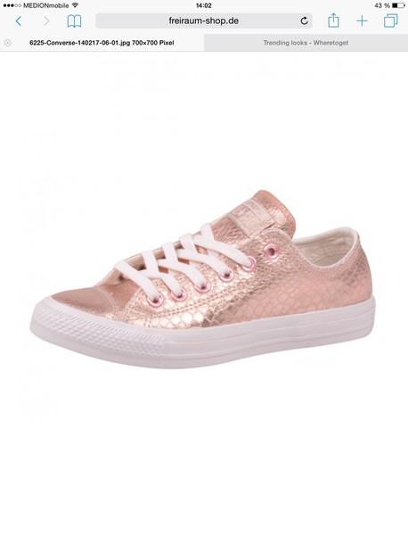 142a0a20056 shoes sneakers converse chucks low chucks rose gold metallic converse snake  skin metallic pink.