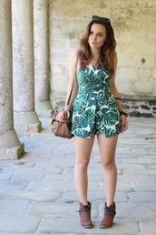 jumpsuit,dress,romper,green dress,palm tree print,overalls,the carrie diaries,carrie,season 2,tropical