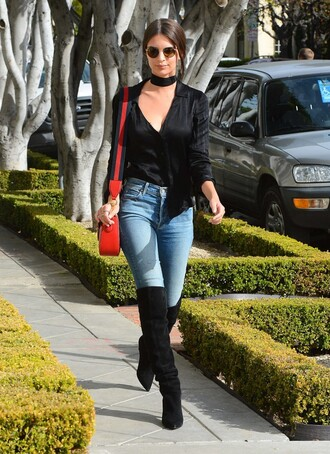 blouse boots jeans emily ratajkowski fall outfits purse shoes over the knee boots