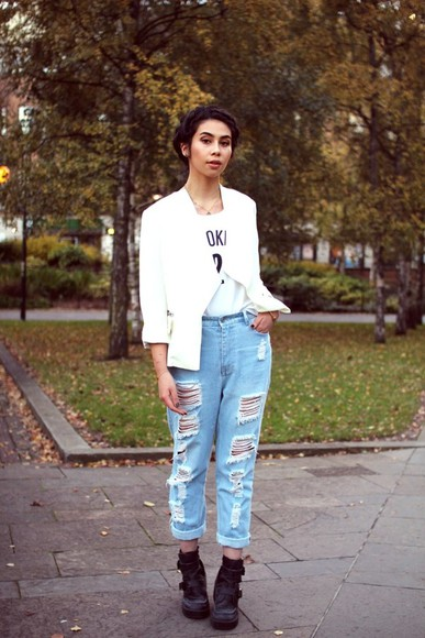 distressed jeans boyfriend jeans ripped light jeans high-waisted fashion blogger tar mar