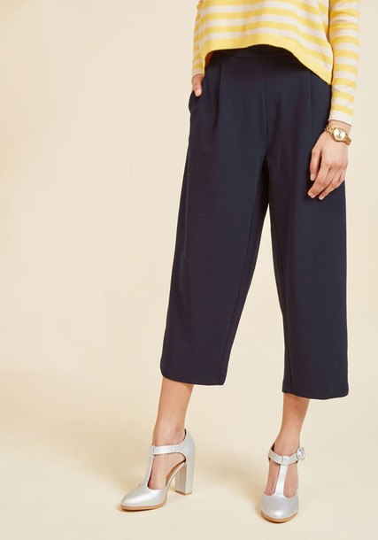 Sp17KAR79 culottes cool cropped high navy blue pants