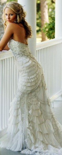 dress wedding dress wedding bustier dress bustier wedding dress frilly ruffle embroidered strapless dress long dress white dress hairstyles wedding hairstyles