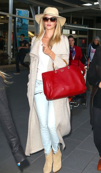 rosie huntington-whitley jacket plain white tee desert boots long length cardigan