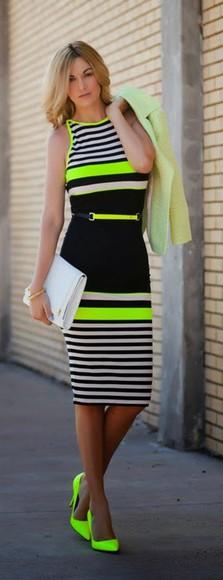 neon stripes midi dress sheath dress