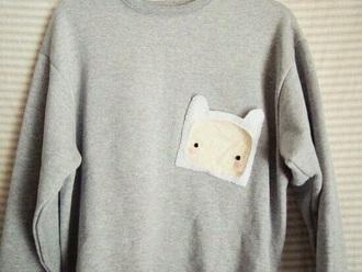 sweater grey sweater adventure time sweater pocket grey jumper