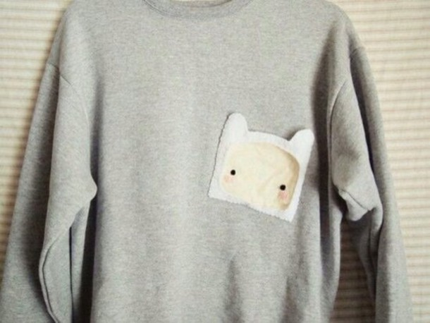 sweater grey sweater adventure time sweater pockets grey jumper