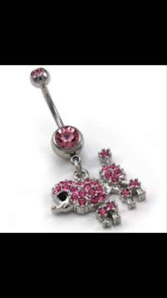 dog jewels pink puddle bellybutton ring