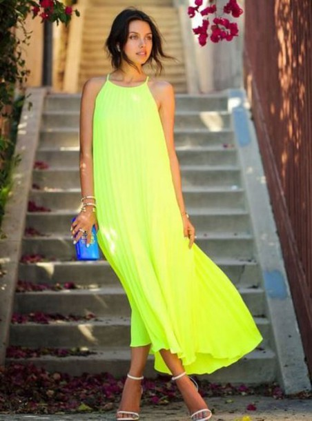 dress yellow maxi dress yellow chiffon maxi dress neon yellow maxi dress lemon lime maxi dress pleated maxi dress high neck maxi dress www.ustrendy.com