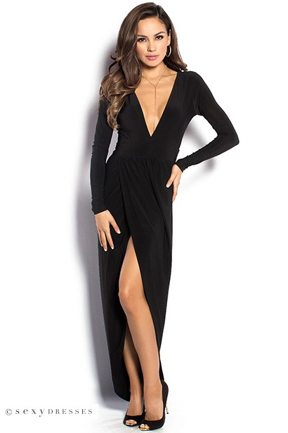 Black Maxi Dress With Slit