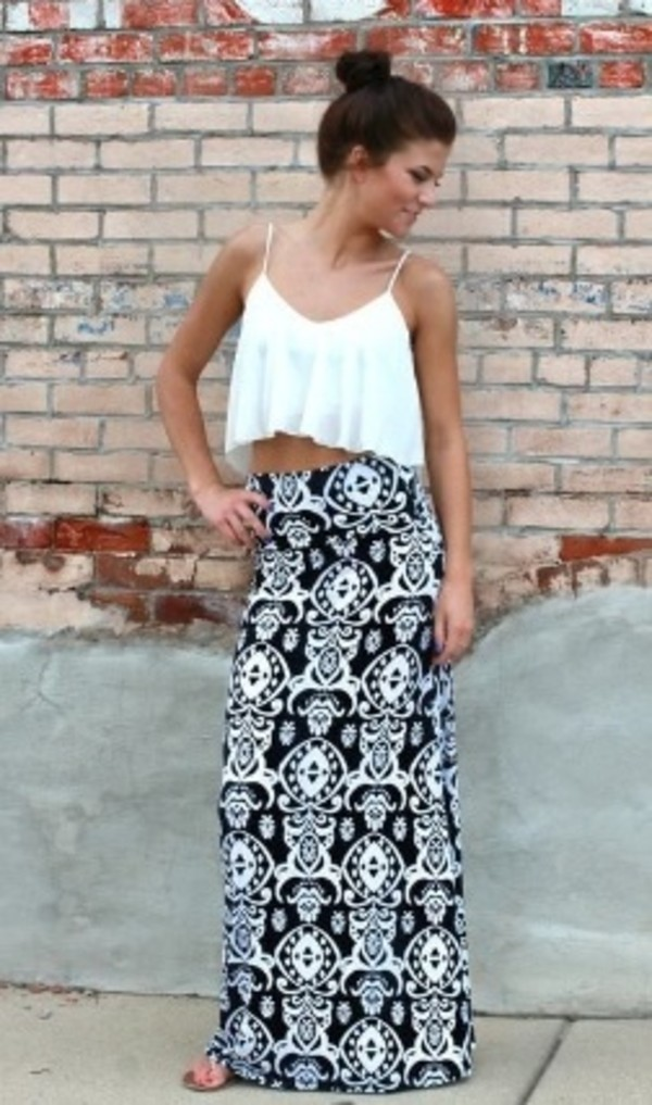 skirt maxi skirt t-shirt black and white