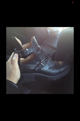 shoes cuir noir boots cuir boots black