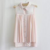 blouse,pink blouse,shirt,bottons,transparence,no sleeves,pink shirt