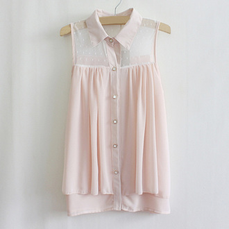 blouse pink blouse shirt bottons transparence no sleeves pink shirt