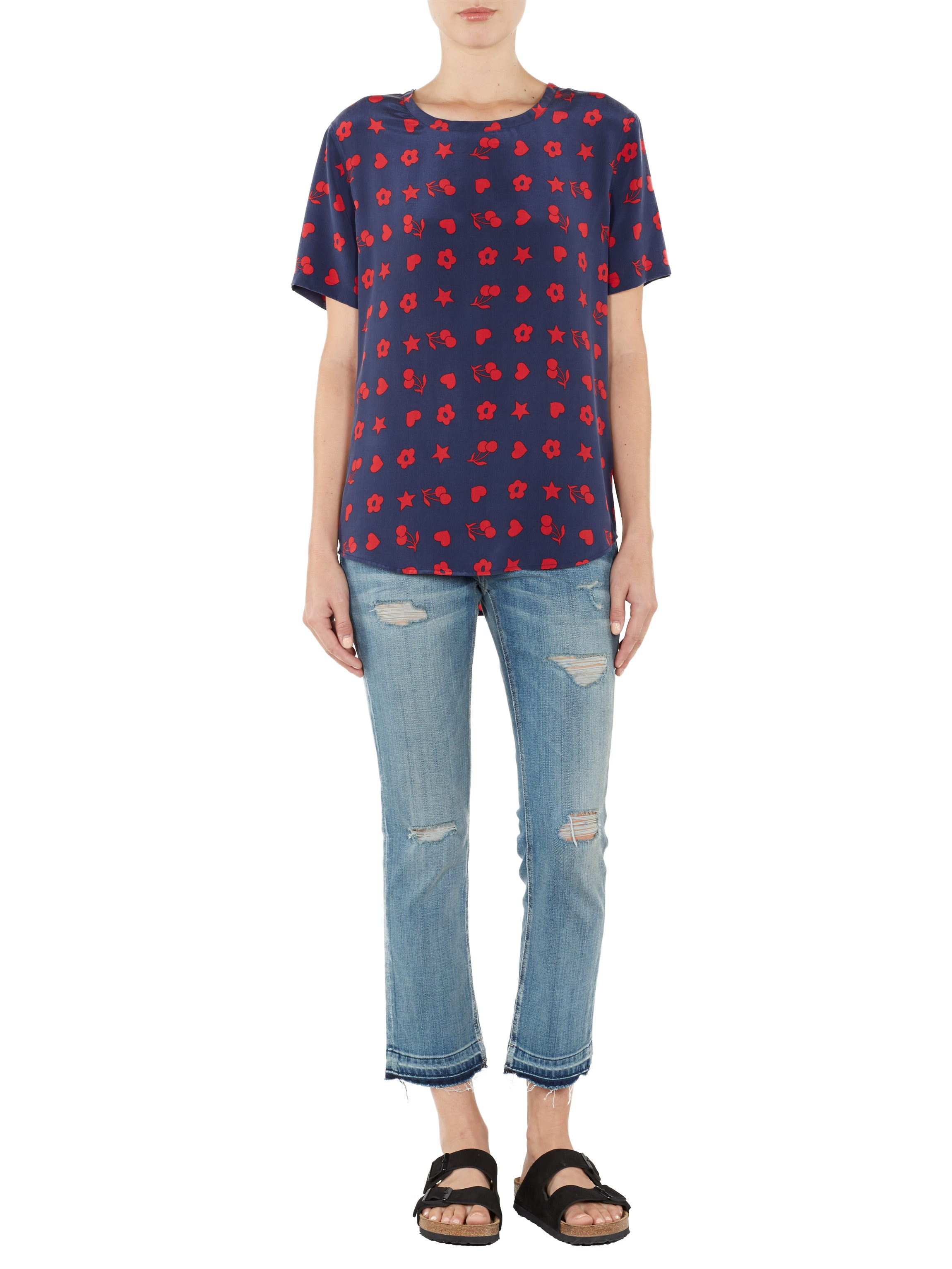 EQUIPMENT Riley Tee Peacoat/Red Fruit And Floral | Silk T Shirt