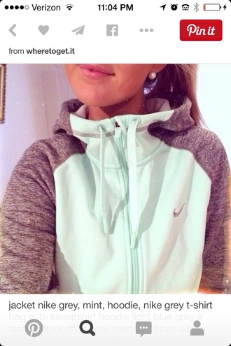 sweater nike mint and grey sweatshirt t