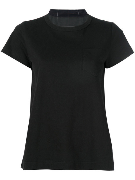 t-shirt shirt t-shirt pleated women cotton black top
