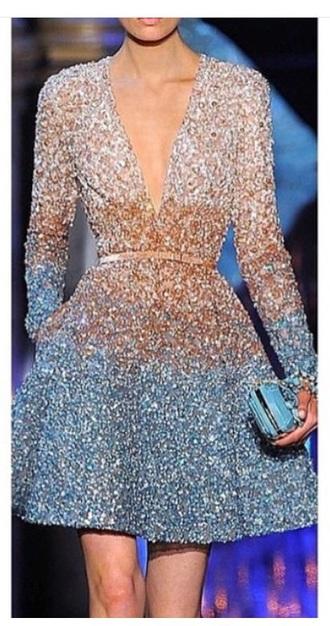 dress dressy sequins long sleeves v front