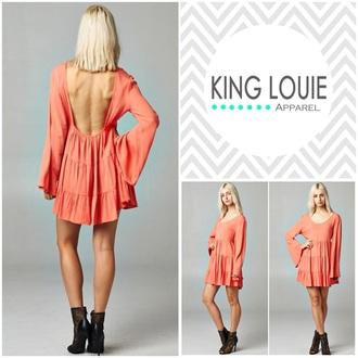 dress coral boho chic boho dress ruffle hippy trendy summer dress style spring