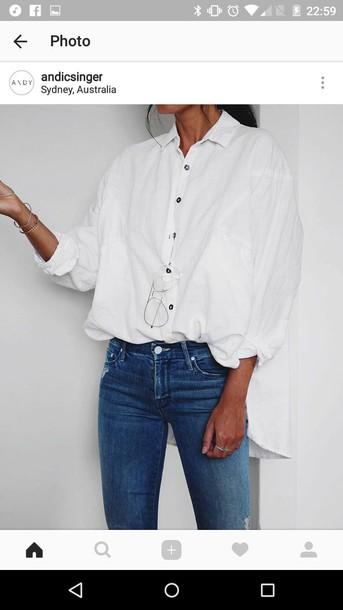 Blouse White Blanc Chemisier Chemise Grunge K Pop Kpop Kpop Idol Grung Style Japan Street American Jeans Glasses Wheretoget