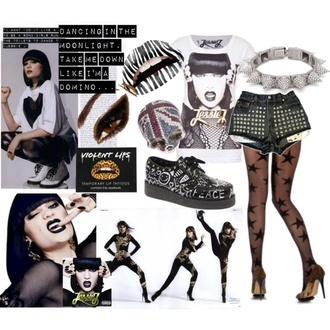 jessie j studded shorts stockings