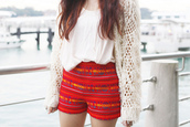 shorts,High waisted shorts,red,tribal pattern,pattern,cardigan,knitwear,white,beige,tank top,coat