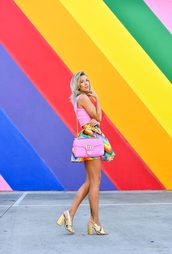 fashion addict,blogger,top,skirt,shoes,bag,rainbow,gucci bag,pink bag,sandals,gold shoes,mini skirt,pink top