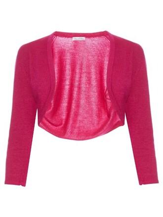 cardigan cropped silk wool pink sweater